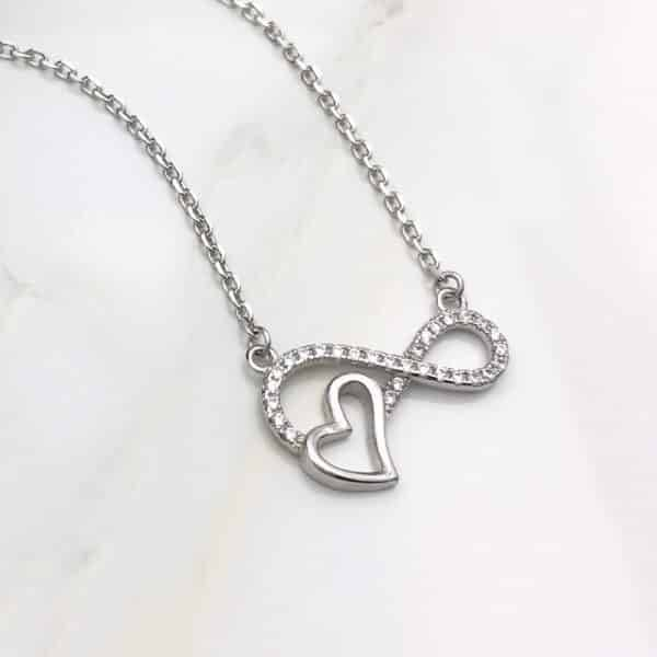 Infinity shaped Necklace with a heart Necklaces Products under $30