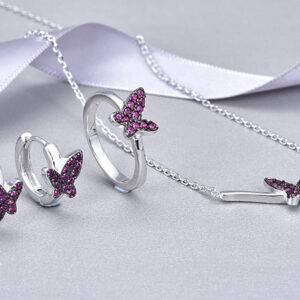 Pink Butterfly Jewelry Set Jewelry Set Products under $30 Size: #6|#7|#8