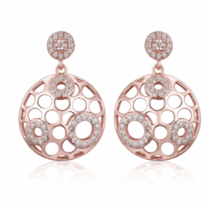 Dangle Drop Rose Gold Round Micro Pave Earring Earrings Season: Spring,Summer,Autumn,Winter