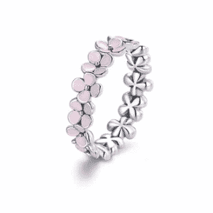 Silver Pink Flower Ring Rings 2ced06a52b7c24e002d45d: 6|7|8