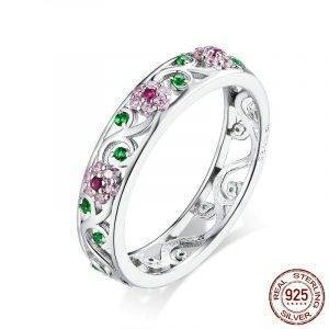 925 Sterling Silver Blooming Pink Flower Ring Jewelry Rings 2ced06a52b7c24e002d45d: 6|7|8