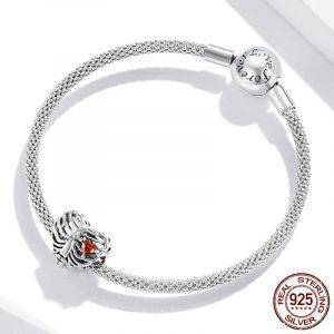 925 Sterling Silver Beating Heart Beads Pendant Charm