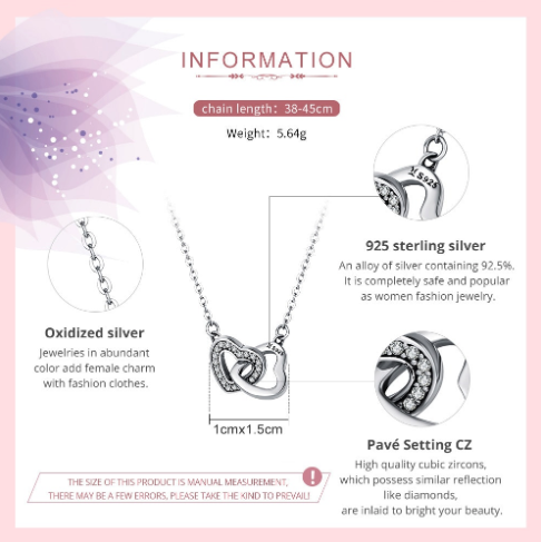 925 Sterling Silver Connected Heart Necklace Necklaces Pendants Brand Name: bamoer
