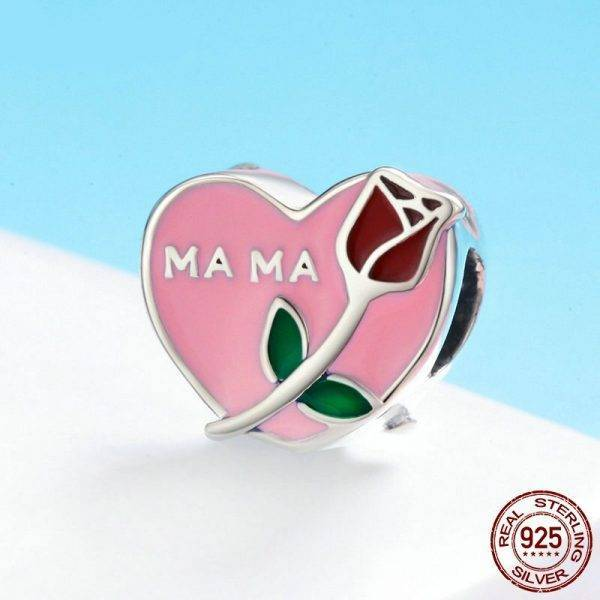Mama Mother in Heart Rose Jewelry Charms
