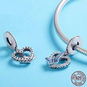 Crystal Butterfly with Heart Shape Charm Jewelry Charms